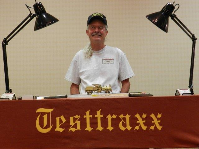 Upon the NEW professional Testtraxx is an On2 Overland Gilpin Shay #5 and me, 'The Shay Fixer', at the 33nd National Narrow Gauge Convention in Pasadena, California...